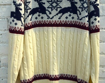 Stags and Stars Sweater/100 % Acrylic/1970's