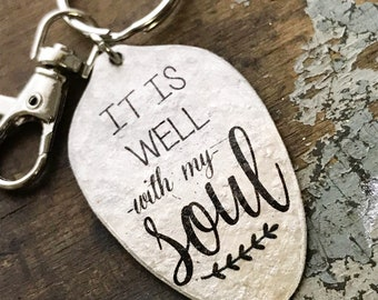 It is Well With My Soul Keychain, Christian Inspirational Gift, Religious Song Keychain, Scripture Gift Kyleemae Designs Spoon Keychain