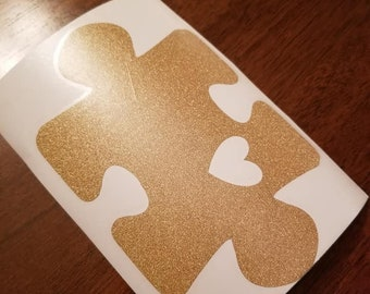 Puzzle Piece with Heart Cut Out Vinyl Decal