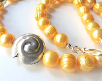 Freshwater Pearl Necklace, Golden Yellow Banded Pearls, Sterling Silver, Destination Wedding Jewelry, Bright Yellow, One of a Kind Gift