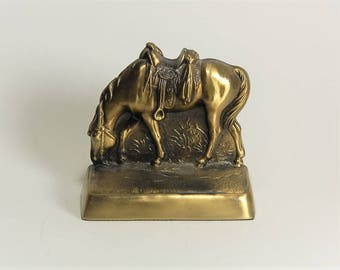 Solid Brass Horse Bookend Riderless Horse
