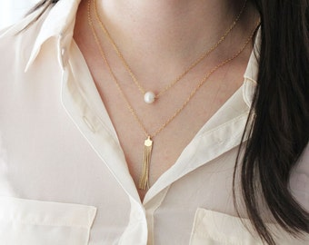 Long Gold Tassel Necklace, ChainTassel Necklace, Chain Fringe Tassel Layering Necklaces, Long Necklaces, Short or Long Length Chains