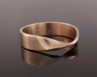 Rose gold wedding ring, Mobius wedding ring, Boho wedding ring, Man wedding ring, Mobius gold ring, Solid gold band, Rose gold wedding band