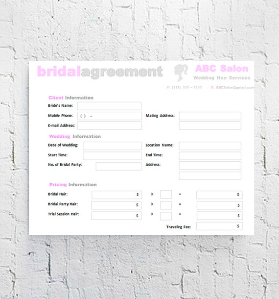hair stylist bridal agreement contract template editable