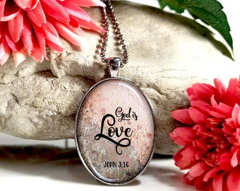 God Is Love- John 3:16 -Large Oval- Glass Bubble Pendant Necklace