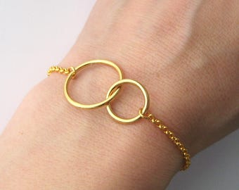 Bracelet two circles intertwined rings crossed you and me karma gold plated 24 k over Silver 925/1000