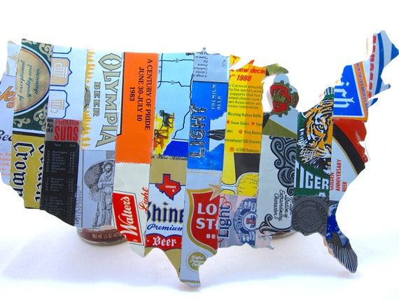united states map collage made from vintage upcycled us beer
