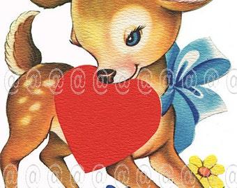 Digital download vintage Valentine card, deer, fawn, heart, bow