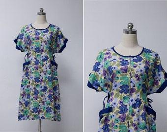 Vintage 80s Japanese Blue Floral Print Summer Smock Dress | Vintage Batwing Boho Midi Dress | Retro Festival Floral Dress L or XL