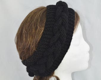Womens Cable Knit Headband, Hand Knit Winter Headband, Black Chunky Ear Warmer, Turban