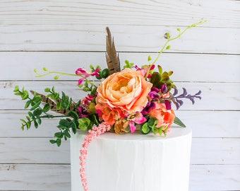 Boho Floral Topper- Cake topper, prop cake, party decor