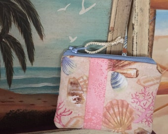 USA made - Beachy Coin Purse Pink with Shells