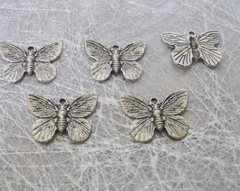 5 charms in silver for making jewelry Butterfly