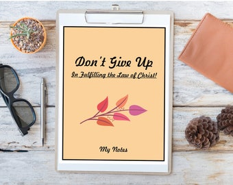 JW Assembly Notebook (Don't Give Up In Fulfiling the Law of Christ!) Instant Download. Autumn