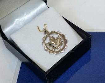 Pendant in Silver 925 leaf charm vintage old SK910