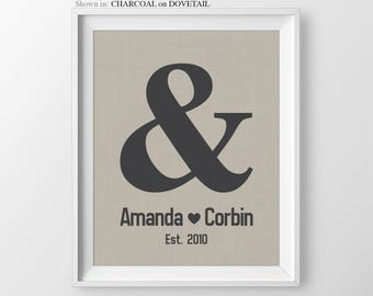 Valentines Gift Ideas Personalized Gift for Couple Ampersand Print Wedding Gift Engagement Party Gift for Anniversary Gift Ideas Wedding