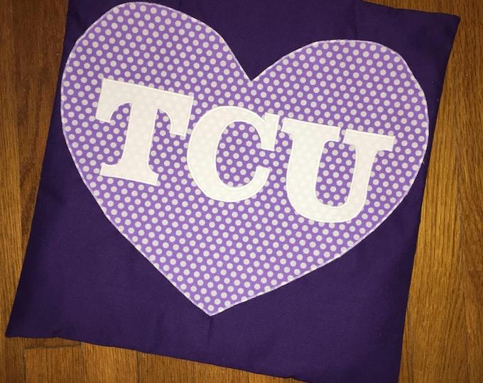Purple Heart TCU Horned Frog Pillow 16x16 Pillow Cover TCU home Decor TCU pillow Farmhouse Christmas Valentine Pillow