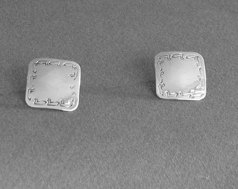 Small silver post.Square silver stud.Little silver stud.Petite stud earring.Square sterling post.Ducks on earring.Bird earring.Stud for teen