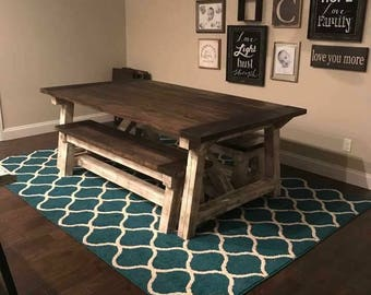 Barnwood kithen table with benches beautiful primitive