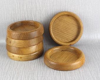 Set of 6 Vintage Hand Turned Wooden Coasters from Oak Wood Lightly Polished Finish