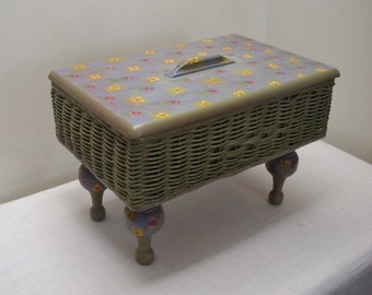 Vintage Flowered Sewing Basket Stand - Blue Purple Yellow & Green