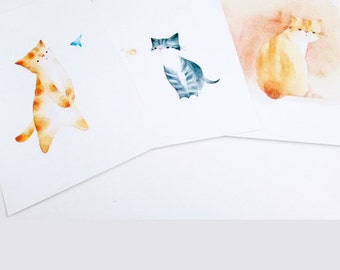 Cat Watercolour Print, Postcard Set, Cat Wall Art, Cat Lover Gift, Cat Art Print, Nursery Art Cat - Set of 3