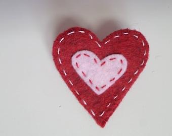 """""""Poppy"""" Collection heart felt brooch"""