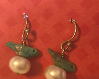 Sterling Silver Turquoise Bird and Pearl Dangle Earrings