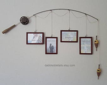 Fishing Pole Picture Frame - Brown Pole - 4 - 4 in x 6 in Picture Frames - Cherrywood Stain