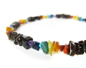 "Gay pride rainbow necklace for men.  Handmade from back shell and semiprecious gemstone beads. ""Rainbow Surfer"""