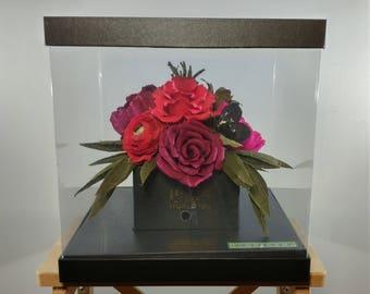Valentine's Day Gift -Handmade-Crepe Paper Flower Bouquet -Peony-Ranunculus-Rose-Red-purple- Wedding -Anniversary-Home Decor-Bridesmaid Gift