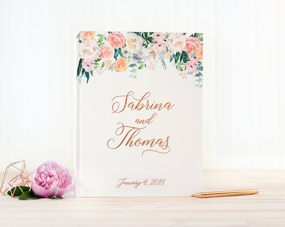 Wedding Guest Book Rose Gold Foil wedding guestbook floral rose gold foil custom guest book book personalized instant photo booth book