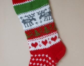 Christmas Stocking Hand Knitted With Reindeer Christmas Gift Christmas Decoration
