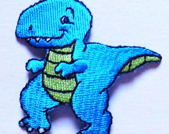 Embroidered Iron-On Applique T-Rex Dinosaur, 2+1/8 x 2+1/8 inch