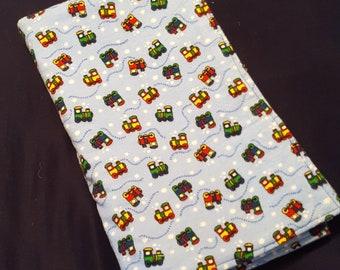 Train Choo-Choo Blue Receiving Blanket Baby Shower Gift Red Green Yellow