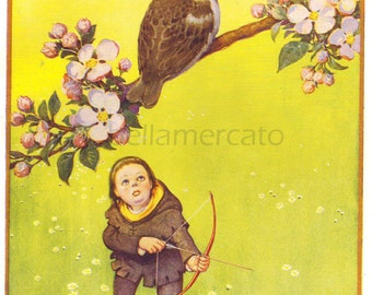 A Little Cock Sparrow Vintage Book Illustration by Lawson Wood Nursery Rhymes Illustration