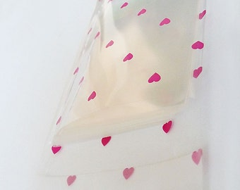 Set of 100pcs Printed Hearts Thick Crystal Clear Resealable Cello Poly Bag Envelope 3 1/8 X 4 3/4 and 1 5/8(flap(flap.. Self Sealing Area)