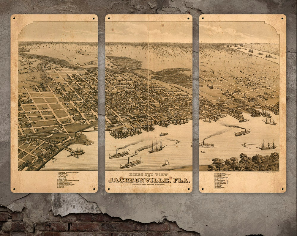 Old map of jacksonville florida metal 36x24 triptych zoom publicscrutiny Choice Image