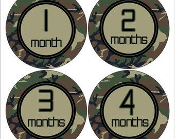 Camo Baby Photo Prop, Camouflage Monthly Sticker, Bodysuit Sticker, Baby Gift,   Baby Shower Gift, Military Nursery Decor (215)