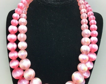 Vintage Stunning Lisner Pink Moonglow 2 Double Strand Necklace Cotton Candy 1950's Choker Necklace  Art Deco Beach Rockabilly Summer Bride