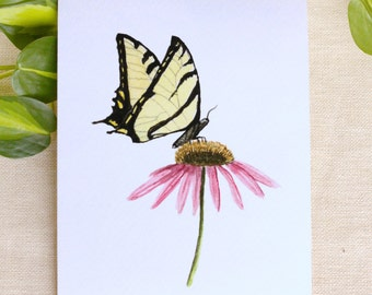 Butterfly and Coneflower Watercolor Painting Watercolor Print Watercolor Flowers Floral Watercolor Print Butterfly Art Gifts for Her
