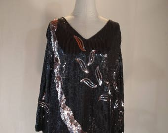 Sequin Vines & Ropes Slouchy Oversize Dress Glam AS-IS