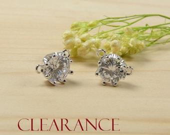 SALE! CZ Crown Charm, Silver Crown Pendant, Clear Crown Pendant, Tarnish Resist Rhodium Plating, RETAIL- 2 Pcs/ order