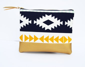 Aztec clutch, Aztec zipper pouch, southwestern clutch, tribal clutch, Gold leather bag, geometric print bag, bridesmaid gifts