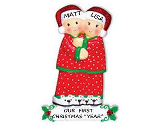 Personalized Our First Christmas Couple Ornament - Pajama Couple Personalized Ornament