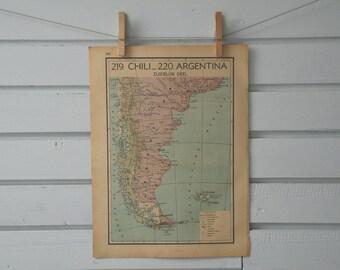 1941 Vintage South Argentina & Chile Map