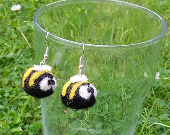 Baby Bumble Bee  Honey Bee Earrings Black Yellow Wool Silver Plated Hooks Cute Funny Insect Pixie Jewlery Needle Felting The Bug