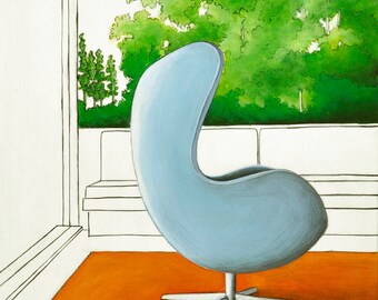 Eames Egg Chair Art Print, Midcentury Modern Print, Eames Chair Print, Midcentury Chair Print, Modern Chair Art, 8 x 8 Print, Blue Egg Chair
