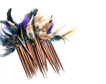 bohemian hair stick (5) - mix of feathers, stones, charms on wood