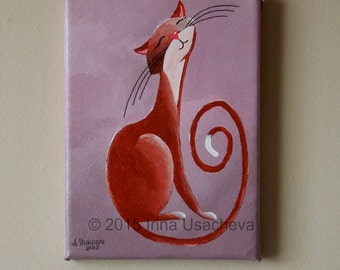 "Original Painting for Sale : Fantasy Cat  ""Musing Cat in Cinnamon"" , acrylic"